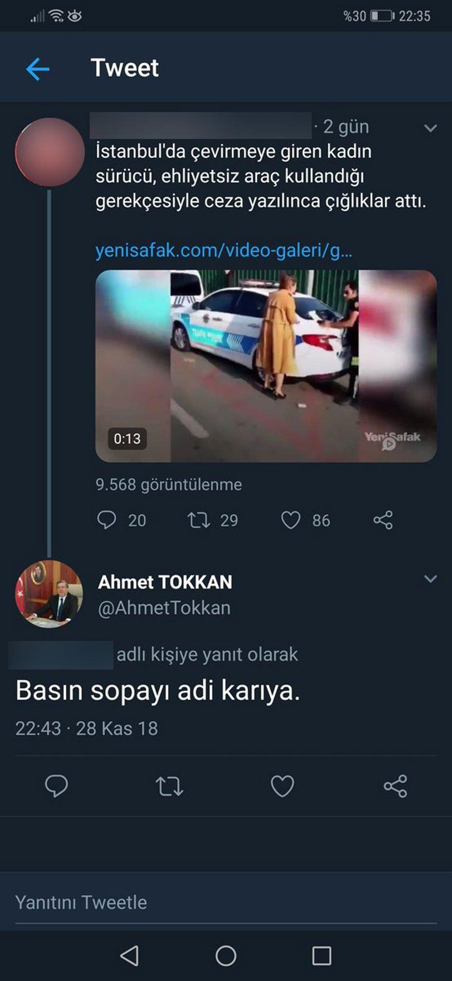 Tokkan'ın sosyal medyadaki hakaret içeren sözleri vatandaşlardan tepki çekti.