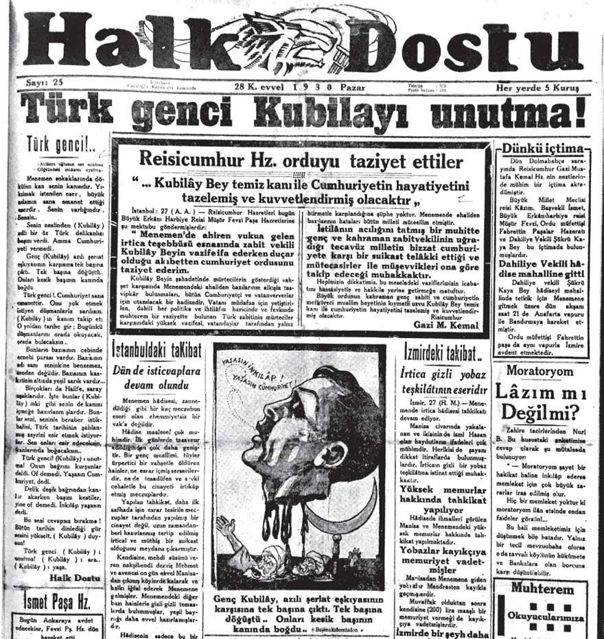 Halk Dostu Gazetesi 28 Aralık 1930.