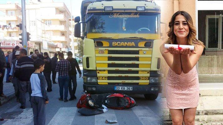 Kamyonun çarptığı motosikletin sürücüsü Selvinaz, ağır yaralandı