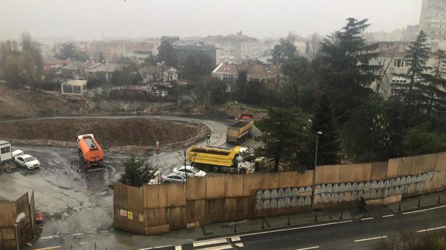 Etiler polis okulu arazisinde ağaç kesimi başladı