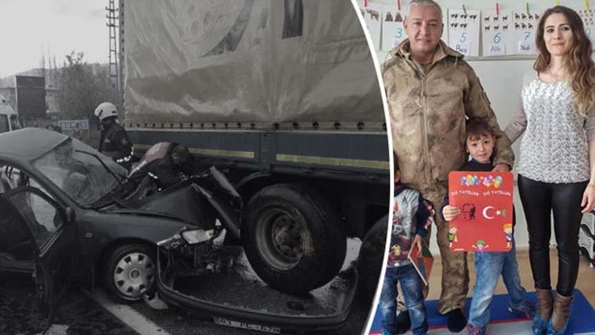 Korkunç kaza: Astsubay öldü, eşi ve çocukları yaralı
