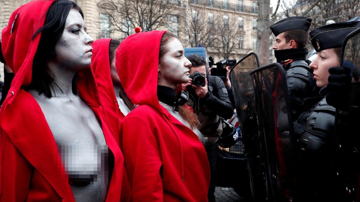 Paris'te göğüs göğüse mücadele!