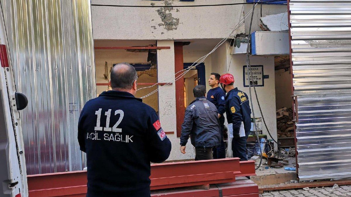 Bodrum'da tadilat yapılan binada çökme yaşandı