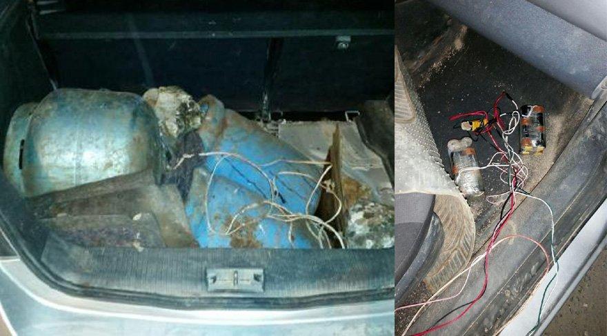 Şehit polis Nazım Tuncer'in dikkati sayesinde yakalanan bomba düzenekli araç. Foto: DHA