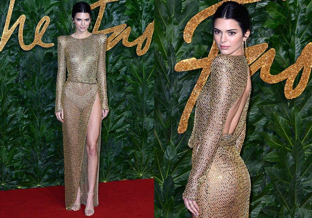 Kendall Jenner ödül töreni için Julien Macdonald's markasının İlkbahar Yaz 2019 koleksiyonundan bir elbise ile katıldı.