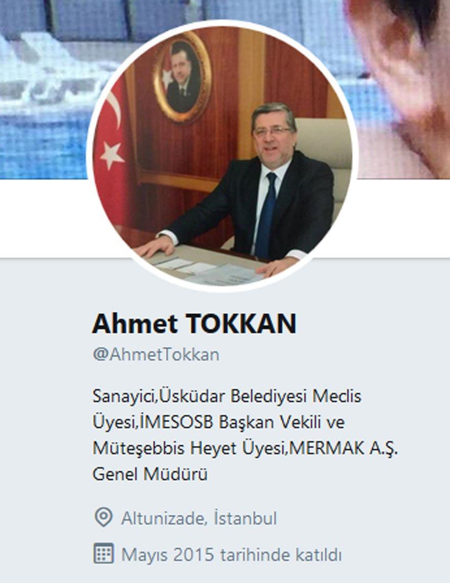 Meclis üyesi Tokkan'ın Twitter hesabı.