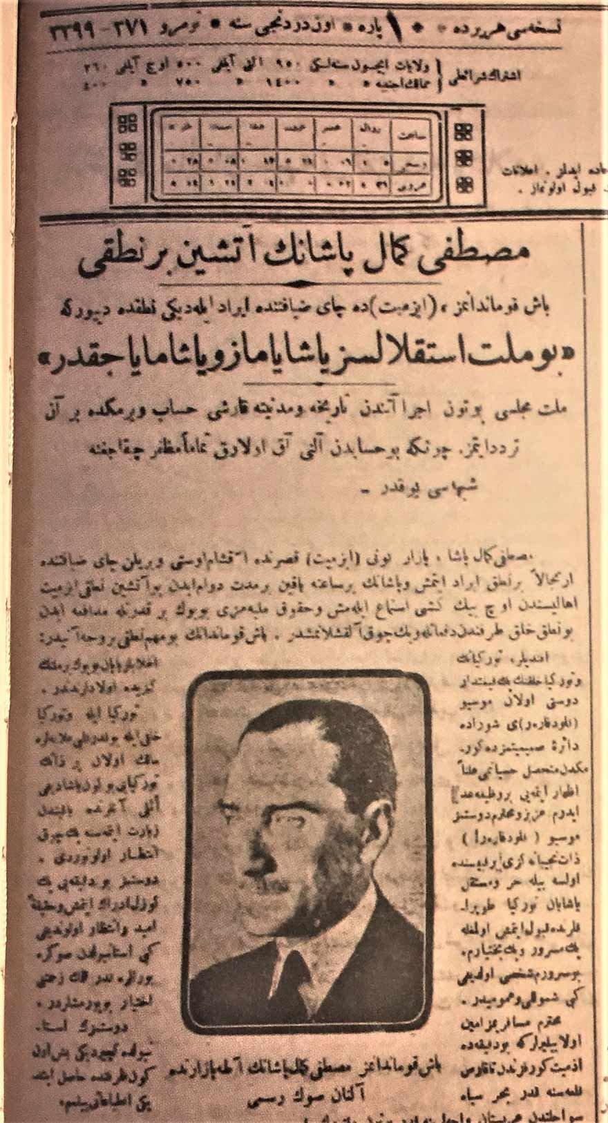 """Atatürk Milli Mücadele yıllarında sıkça 'bağımsızlıktan' söz ediyordu. Örneğin, bu gazete haberinde Atatürk'ün bir nutkunda, """"Bu millet istiklalsiz yaşayamaz ve yaşamayacaktır"""" dediği aktarılıyor."""