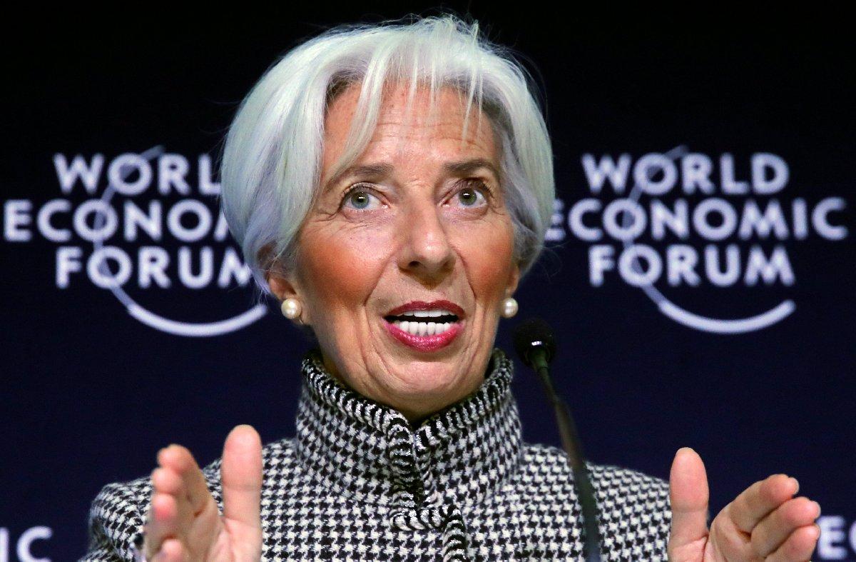 IMF Başkanı Christina Lagarde Davos zirvesi öncesi basın toplantısında konuştu. /Fotoğraf: Reuters
