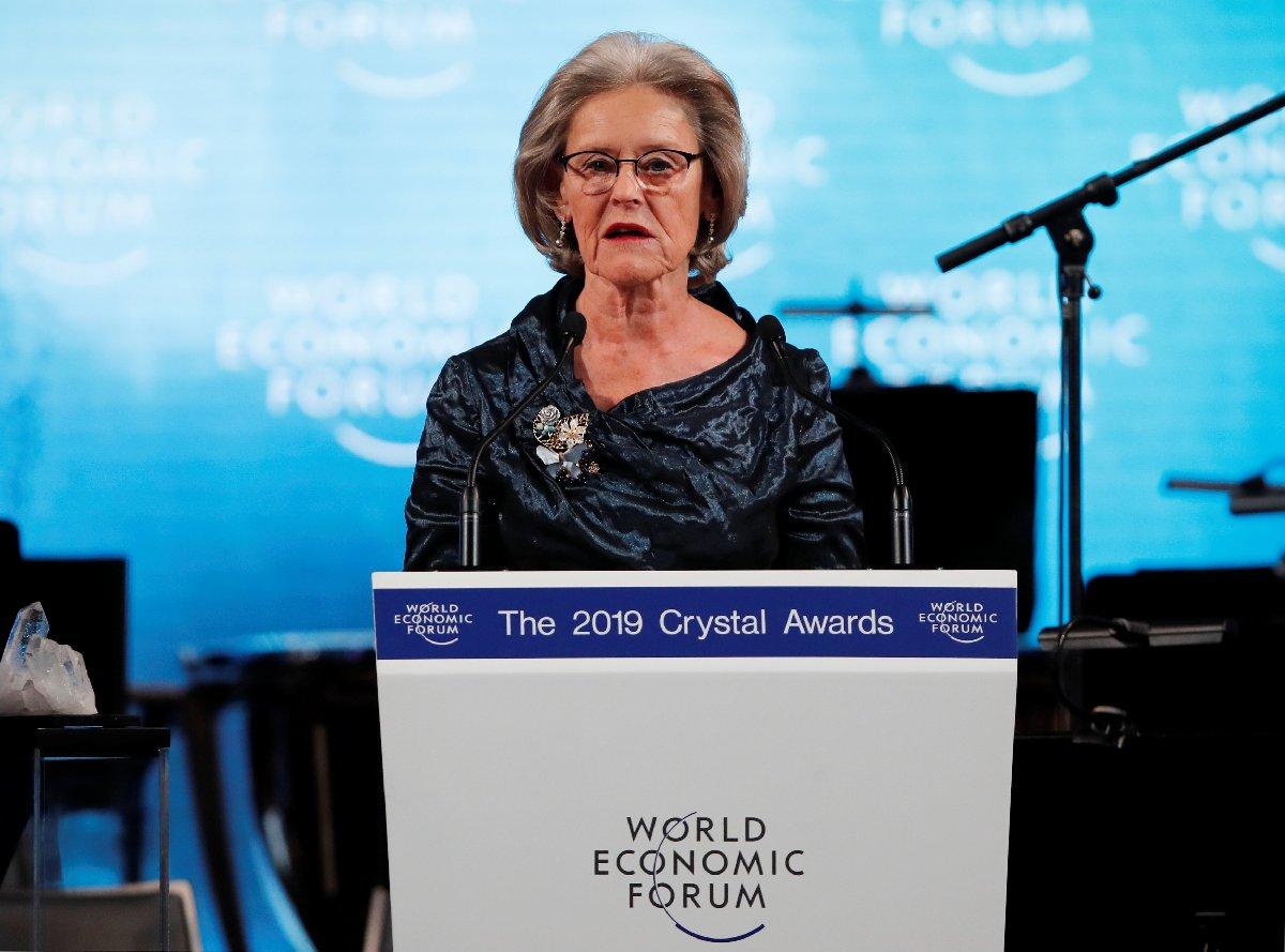 Schwab Vakfı'nın kurucusu Hilde Schwab zirvenin açılış konuşmasını yaptı. /Fotoğraf: Reuters