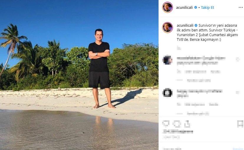 """Survivor adasından ilk fotoğrafını paylaşan Ilıcalı, """"Survivor'ın yeni adasına ilk adımı ben attım. Survivor Türkiye – Yunanistan 2 Şubat Cumartesi akşamı TV8'de. Bence kaçırmayın"""" ifadelerini kullanarak müjdeli haberi verdi."""