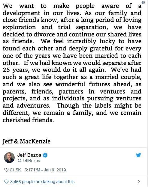 Bezos, açıklamayı Twitter hesabından duyurdu.