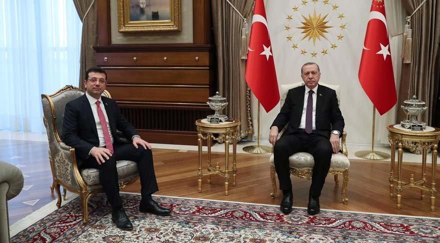 FOTO: AA -Türkiye Cumhurbaşkanı Recep Tayyip Erdoğan, Cumhurbaşkanlığı Külliyesi'nde CHP'nin İstanbul Büyükşehir Belediye Başkan adayı Beylikdüzü Belediye Başkanı Ekrem İmamoğlu'nu kabul etti.