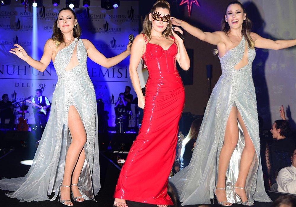Funda Arar, sahnede adeta bacak şov yaptı. Songül Sarpbaş markasına ait, biri kırmızı diğeri buz mavisi elbise giyen Arar,'ın bacak dekolteli elbisesini beğendik fakat kırmızı elbisenin keşke etek boyu biraz daha kısa ve balık kesim olsaydı...