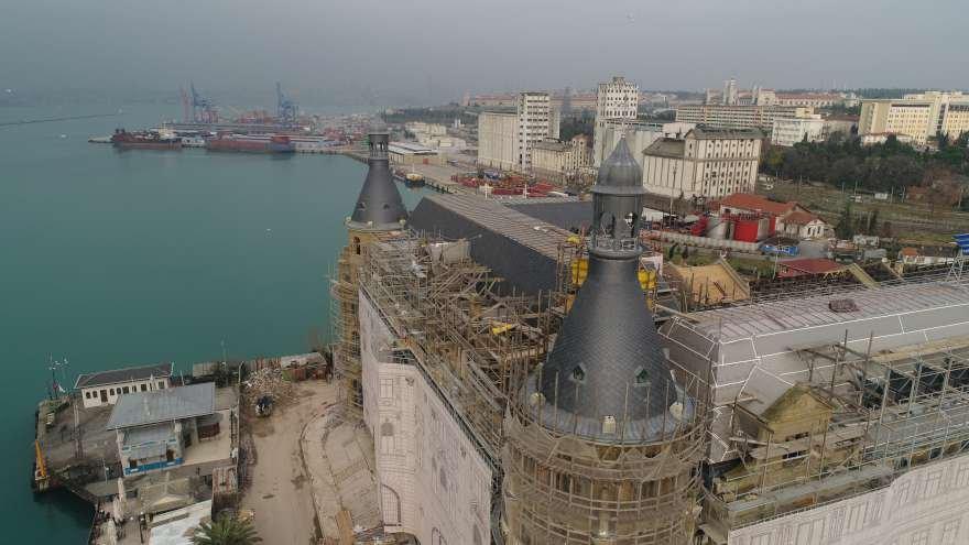 Haydarpaşa Garı'nın tamamlanan çatı restorasyonu havadan görüntülendi Foto: İHA