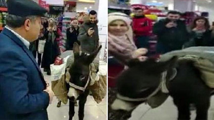 Markette eşekle alışverişi yapan müdür çıktı!