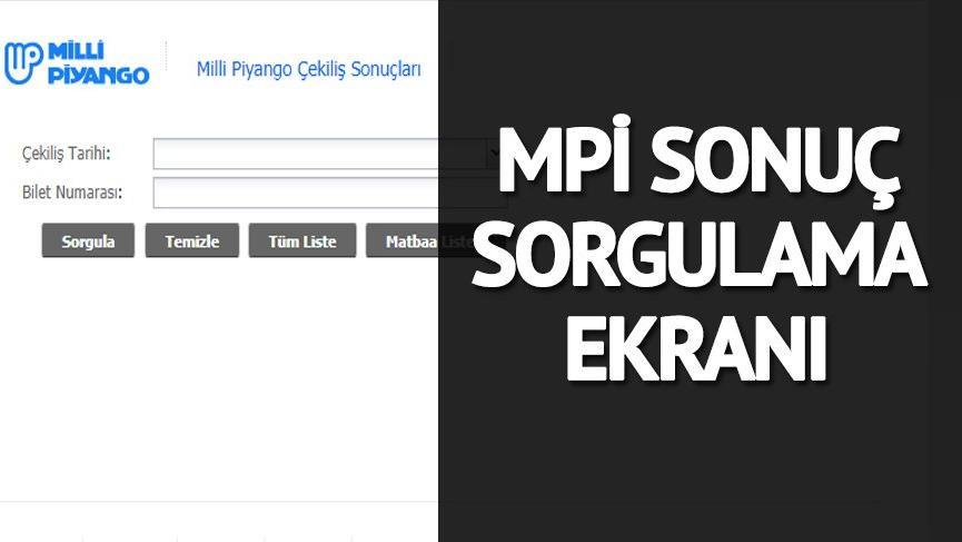 Milli Piyango'da sorgulama işlemleri sürüyor! MPİ sonuç sorgulama ekranı…