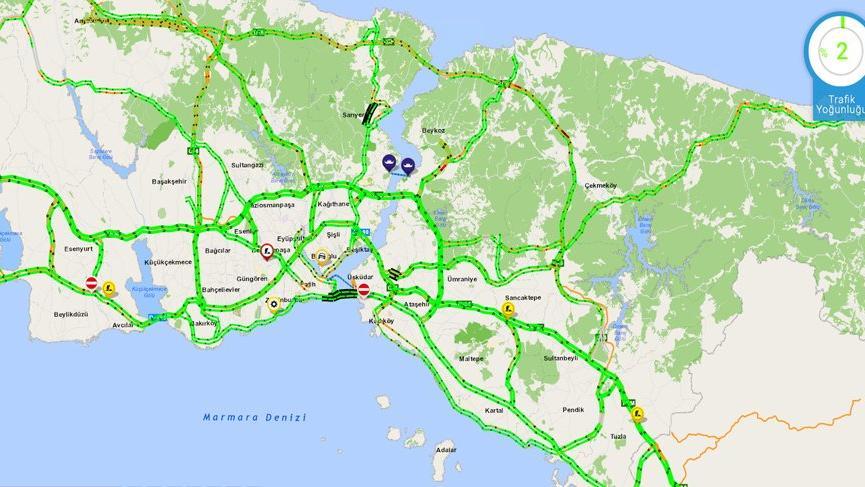 İstanbul'da trafik yoğunluğu yüzde 1-2