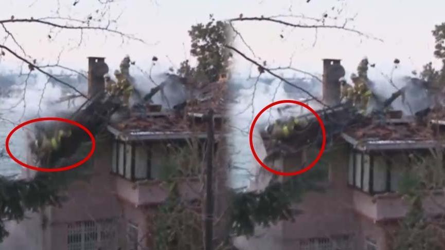 Yangın söndürmeye çalışan itfaiye eri çatıdan düştü