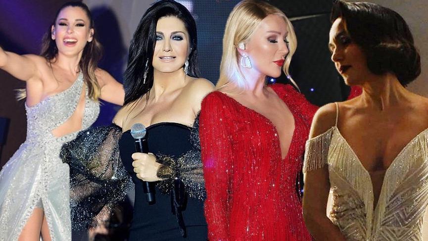 Yeni yılda sahne alan ünlülerin dekolteleri dikkat çekti