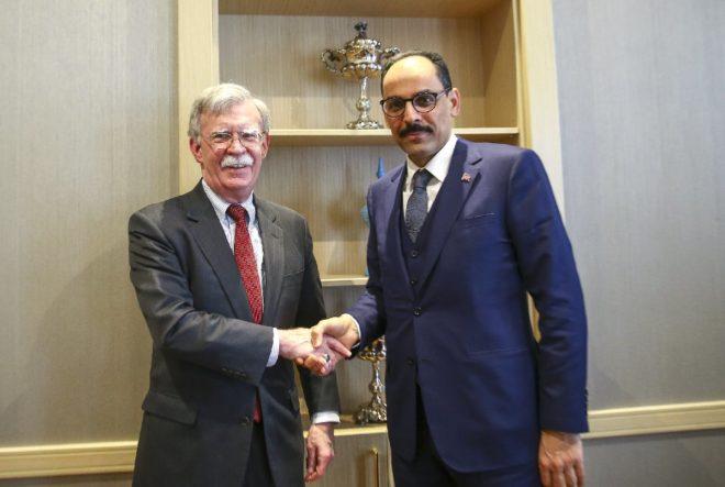 ABD Ulusal Güvenlik Danışmanı John Bolton ve Cumhurbaşkanlığı Sözcüsü İbrahim Kalın.