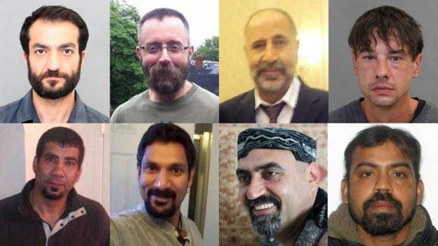 Sol üstten saat yönüne doğru kurbanlar: Selim Esen, Andrew Kinsman, Majeed Kayhan, Dean Lisowick, Kirushna Kumar Kanagaratnam, Abdulbasir Faizi, Skandaraj Navaratnam, Soroush Mahmudi