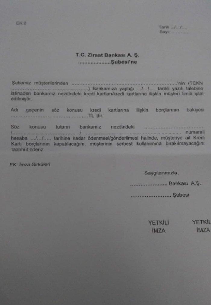 Ziraat Bankası vatandaştan başka bankalara imzalatmasını istediği belge
