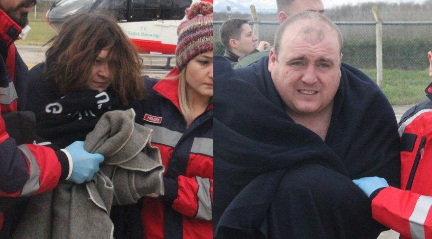 Kurtarılan personel helikopterle hastaneye sevk edildi. Foto: İHA