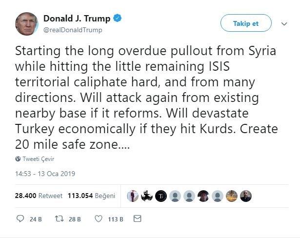 13 Ocak'ta Türkiye'ye yönelik skandal bir mesaj atan Trump, kısa süre içinde tavrını değiştirdi.