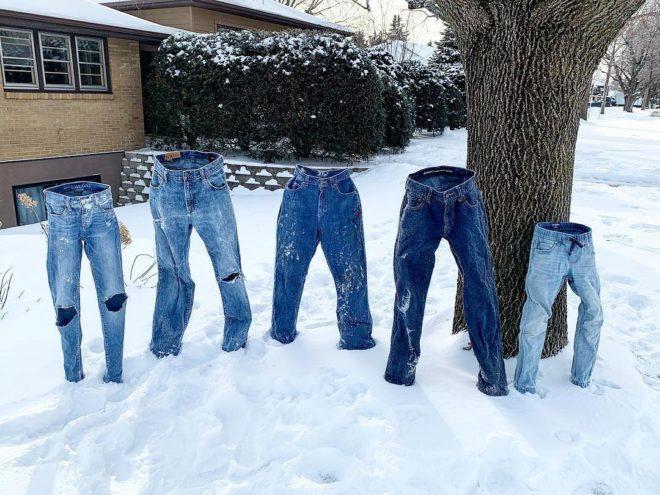 Minnesota'da pantolonlar bile buz tuttu.