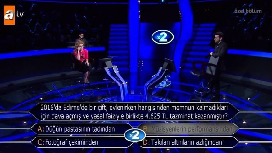2016'da Edirne'de bir çift evlenirken hangisinden memnun kalmadıkları için dava açmış ve yasal faiziyle birlikte 4.625 TL tazminat kazanmıştır?