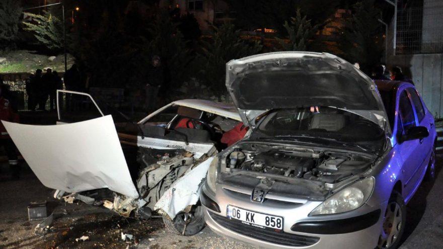 Ankara'da feci kaza: 50 metreden uçtu