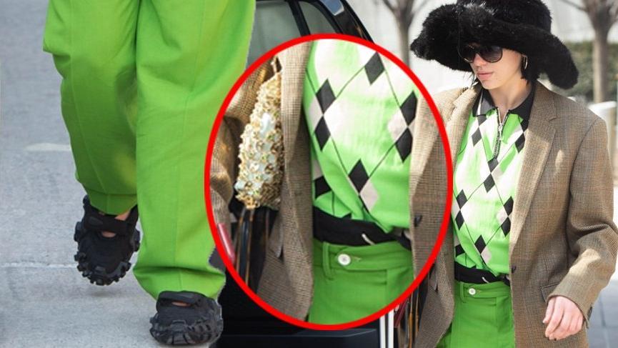 Dua Lipa yaptığı kombinle ailenin erkeklerinden emanet kıyafet almış gibi görünüyor