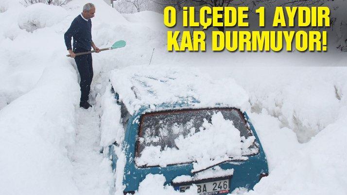 Tunceli'nin Ovacık ilçesinde 1 aydır kar yağıyor! Araçlar ve evler karda kayboldu...