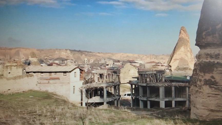 Peribacaları'ndaki inşaatın yıkımına başlandı