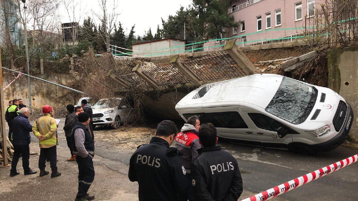 Son dakika: İstanbul'da duvar araçların üzerine çöktü