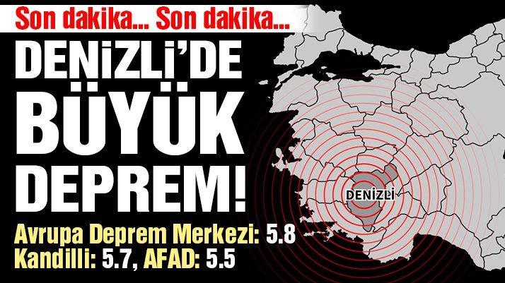 Denizli'de 5.5 şiddetinde deprem