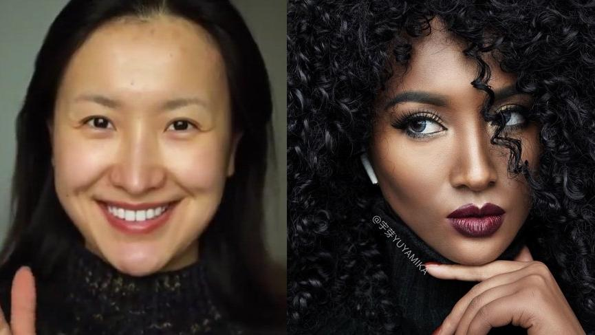 Koreli Yuyamika makyajla siyahi bir kadına dönüştü