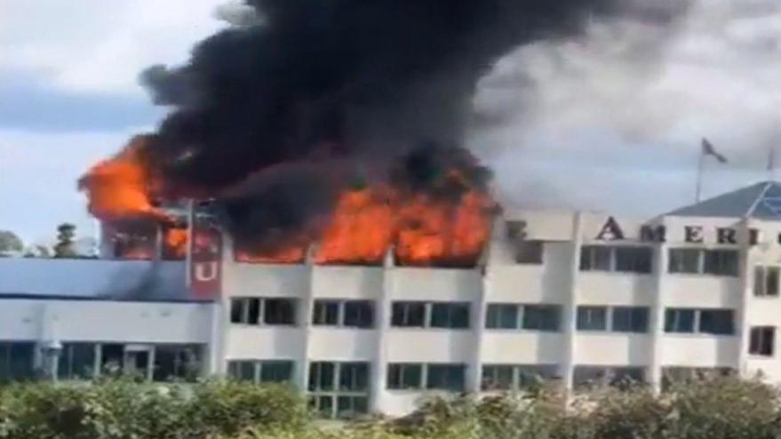 Kıbrıs'ta korkutan yangın... Üniversite binası yandı