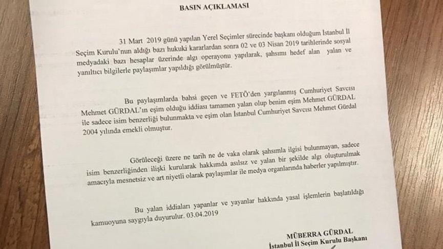 İstanbul İl Seçim Kurulu Başkanı Gürdal'dan FETÖ açıklaması!