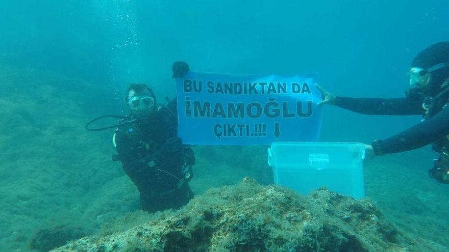 Denizin altında İmamoğlu'na destek