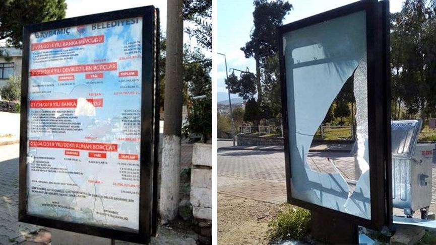 AKP'li belediyenin devrettiği borç miktarı halka duyuruldu! Billboardlar tahrip edildi...