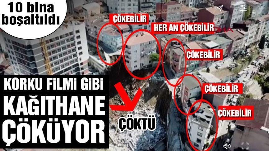 Kağıthane'de 4 katlı bir bina çöktü: Olay yerinde öfke var! Son dakika haberleri