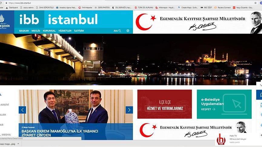 İBB sitesine Atatürk'ün fotoğrafı ve sözü geldi