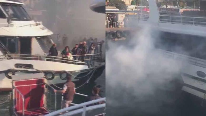 Son dakika: İstanbul'da yolcu teknesinde yangın!