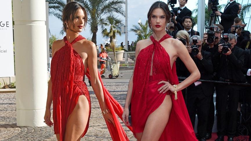 Alessandra Ambrosio'nun kırmızı elbisesi 72. Cannes Film Festivali'ne damga vurdu