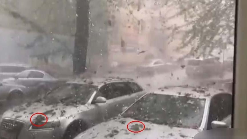 Romanya'da gökten doluyla birlikte taş yağdı!