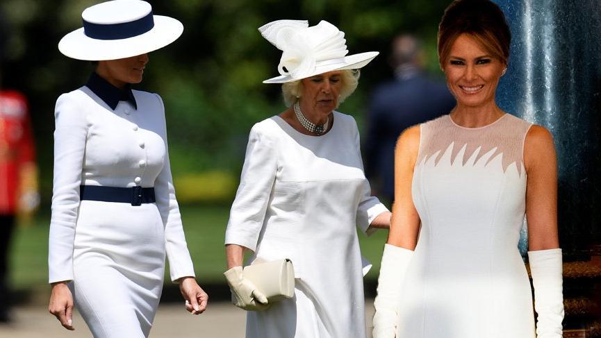 Melania Trump İngiltere ziyaretindeki stiliyle dikkat çekiyor