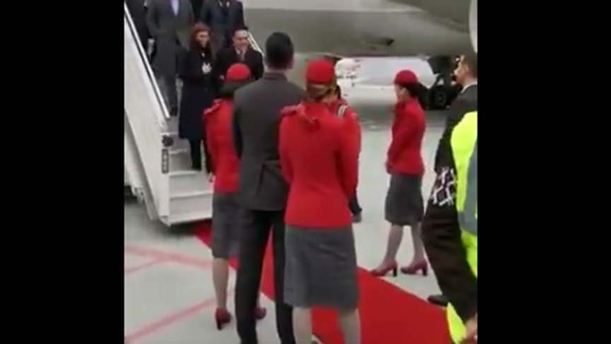 THY Genel Müdürü'nü kırmızı halıyla karşılamanın görüntüleri ortaya çıktı
