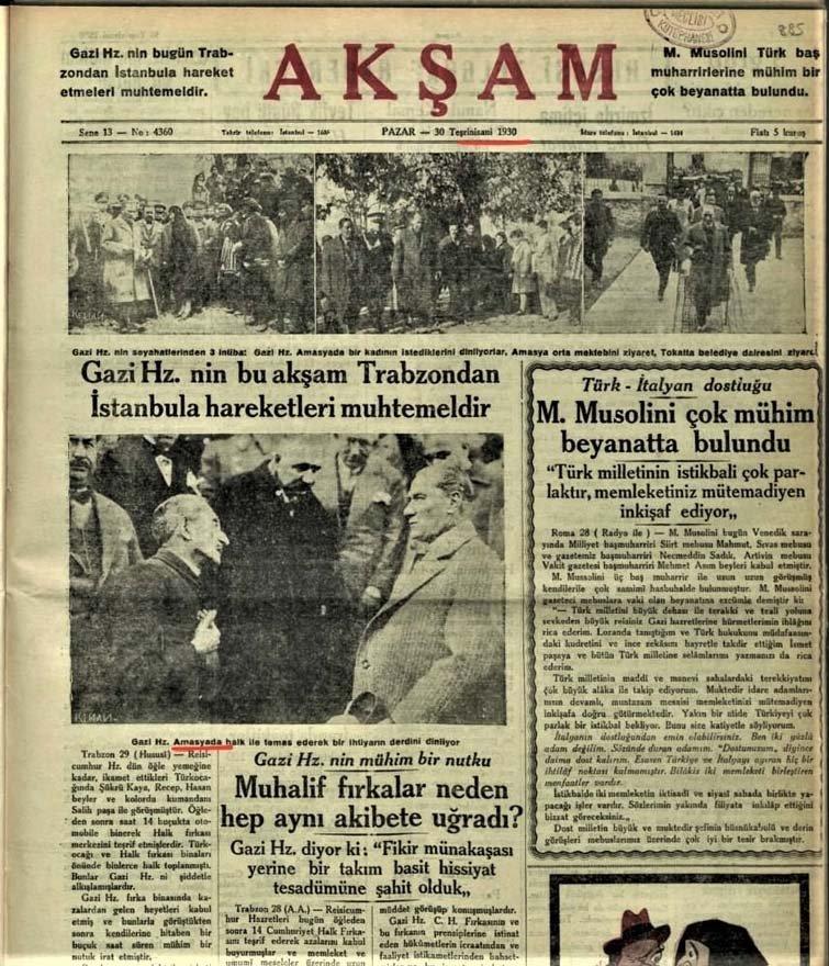 30 Kasım 1930 tarihli Akşam Gazetesi, o fotoğrafın Amasya'da (22 Kasım) çekildiğini yazıyor. ile ilgili görsel sonucu