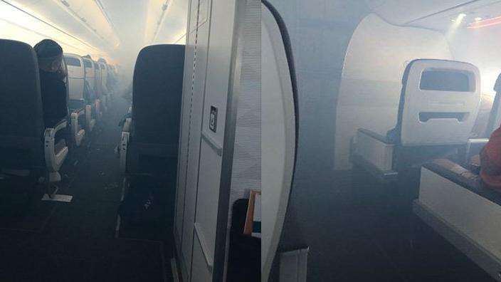 Havada panik... Uçak bir anda dumanla doldu